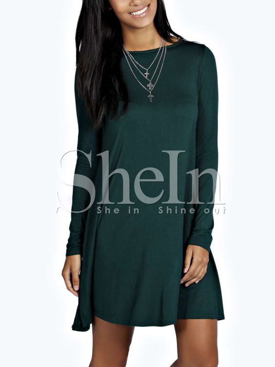 Shop Dark Green Long Sleeve Casual Dress online. SheIn offers Dark Green Long Sleeve Casual Dress & more to fit your fashionable needs.