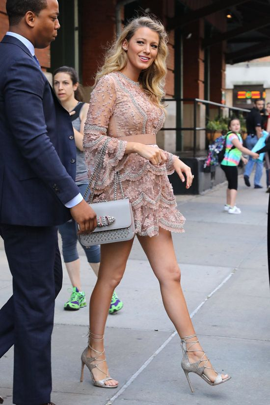 """Blake Lively leaves her hotel and heads to """"The Today Show"""" studios in New York City in Elie Saab couture (I)"""