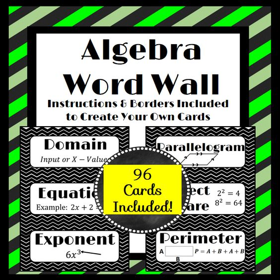 Algebra Word Wall Strips: (96 in all!) | Blank cards, The ...