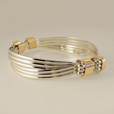 Bracelets 98480: Sterling Yellow Gold Filled 4 Knot 6 Strand Elephant Hair Style Safari Bracelet BUY IT NOW ONLY: $145.0
