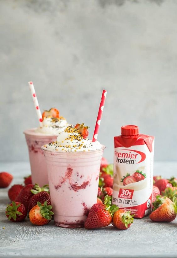 Strawberry Protein Shake with Whipped Cream
