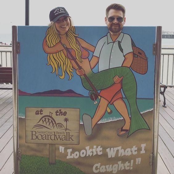 Santa Cruz CA: still waiting on that mermaid emoji...#suchtourists #mermaid#santacruz#santacruzbeachboardwalk#boardwalk#santa#cruz#santacruzboardwalk#santacruzwharf#blackcap#imatourist#tourist#secondtimehere#raybans#fml#ae#americaneagle#cutoffs#adidas#zipup#ponytail#beach#sand#dandy#sandy#birks#birkenstock#stocks by emmakateroberts