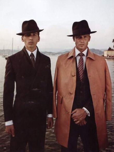Prohibition Fashion: bring all of the trench coats, all of the hats. And bring the sour faces too.