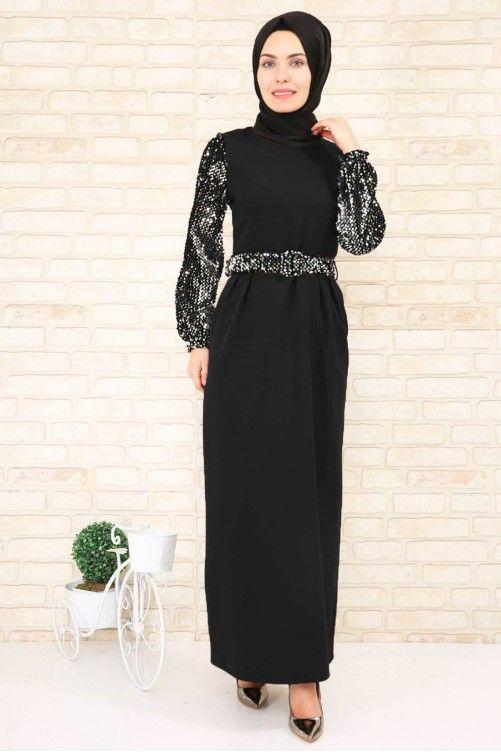 Siyah Pileli Elbise Kollari Pul Payetli Elbise The Dress Elbiseler