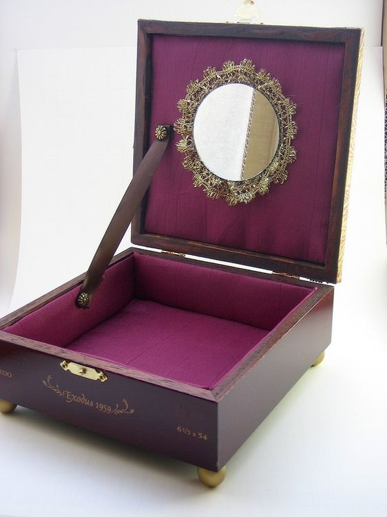 Jewelry Box Upcycled Burgundy and Gold by handartdesignstudios