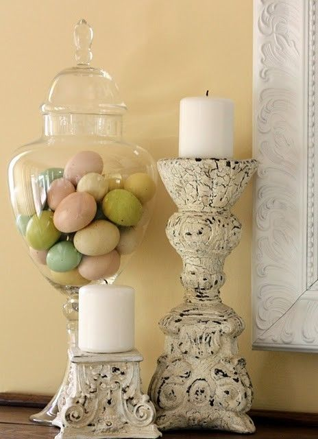 Great Ideas For An Easter Mantle Easter Pinterest Jars Easter Decor And Glasses