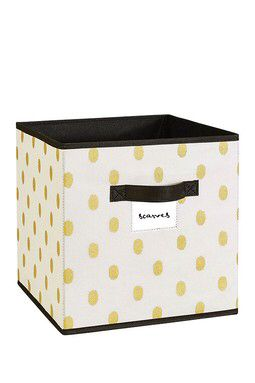 Gold Dot Faux Jute Storage Cube