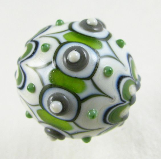 "Round ""Ottoman"" Bead in Shades of Green by Amy Waldman-Smith"