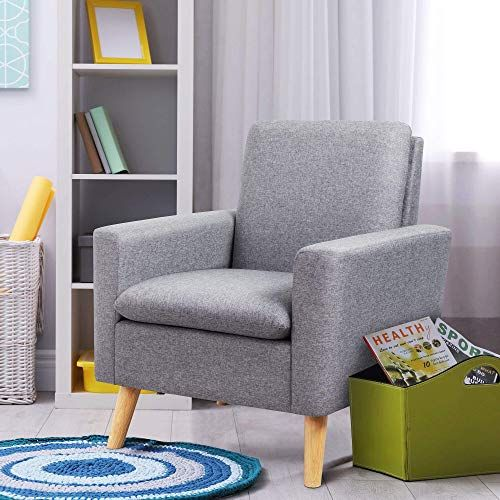 Buy Shintenchi Modern Accent Chair Linen Fabric Single Sofa Arm Chair Solid Wood Legs Comfy Upholstered Sofa Chair Living Room Bedroom Office Grey Online In 2020 Grey Furniture Living Room Living