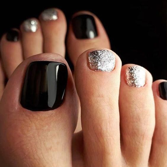 Marvelous Black Nail Designs With Silver Glitter Accents Backnails Glitternails The Freshest And Most Beautiful Nai Toe Nail Color Toe Nail Designs Toe Nails