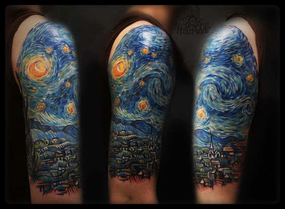 Van Gogh's Starry Night tattoo