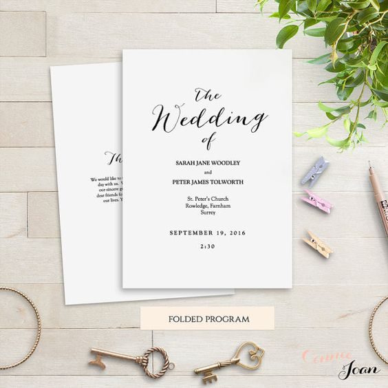 Folded Wedding Program Template Modern. Sweet By