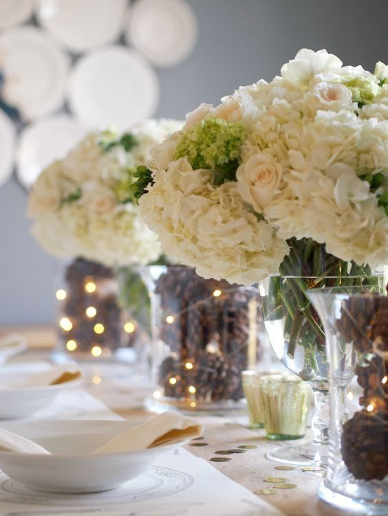 15 Ideas To Create Stunning Fairy Light Table Decorations Winter Wedding Centerpieces Pinecone Wedding Decorations Winter Wedding Table
