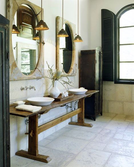 Love This Rustic Bathroom, The Floors, The Antique Oak Tressel Vanity, The Mirrors, Black