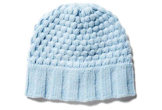 Cashmere Chunky Popcorn Hat, Baby Blue