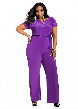 Wish I had THIS for Liv's party!! // Ashley Stewart: Embellished Keyhole Self-tie Jumpsuit