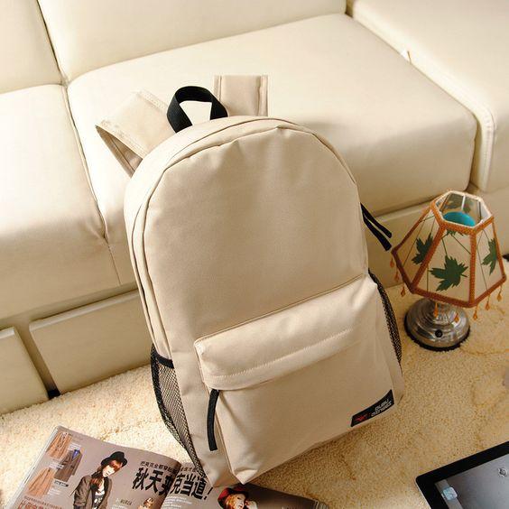 Pure Color Korean Style Flexo Backpack