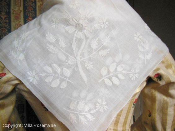 Chain stitch embroidered muslin Fichu | Villa Rosemaine