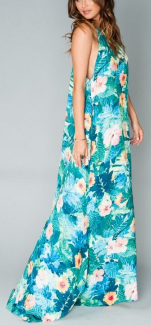 Tropical Turquoise Maxi with High Slit