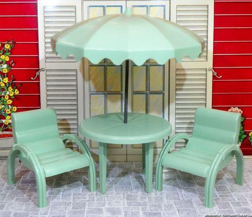 Marx Mansion Patio Set 3 4 Vintage Dollhouse Furniture Hard Plastic Renwal Sz Mansions