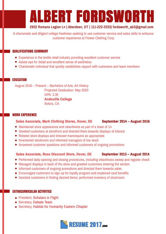 see this freshman proper resume sample to learn how to write an resume for college