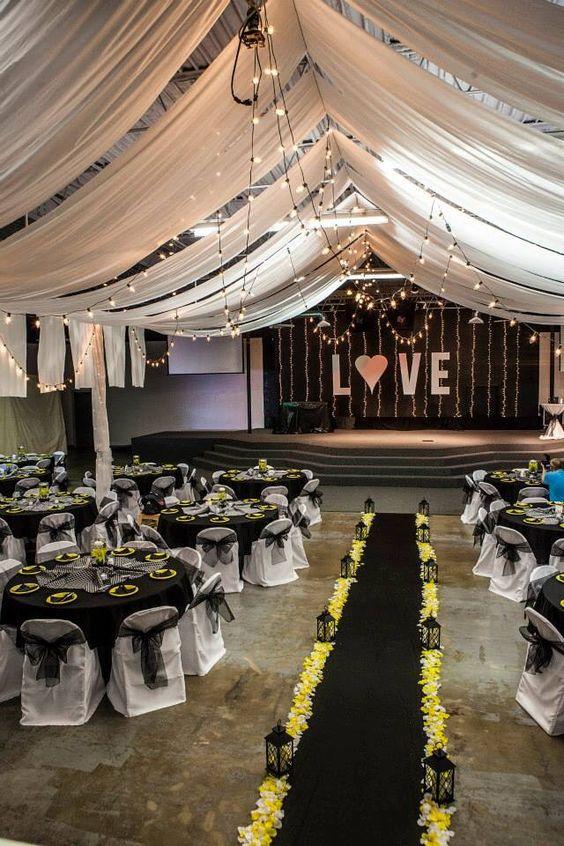 Black, white, & yellow wedding decor