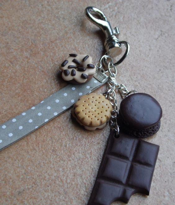 Porte cl s donut biscuit macaron et tablette de chocolat - Porte cle en pate fimo ...