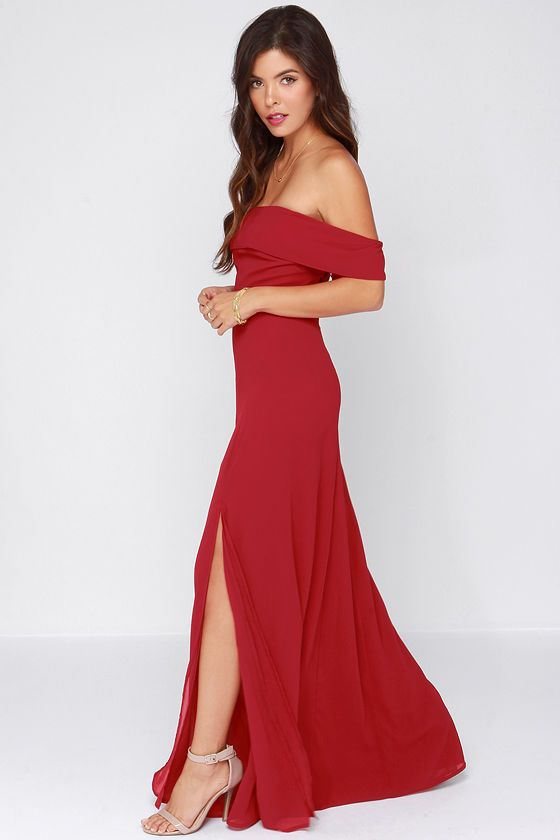 Secret Bluff Off-the-Shoulder Wine Red Maxi Dress at Lulus.com ...