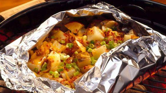 Papillote de pommes de terre au cheddar fumé