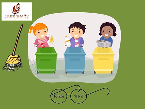 Swachh Bharat Abhiyan: Clean India is responsibility of all 1.25 billion Indians. Via: www.sparkrealty.in