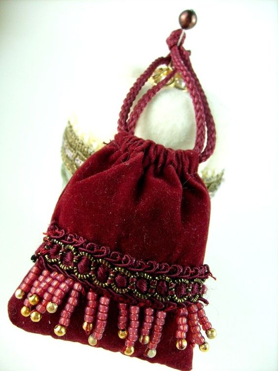 Handmade Doll Purse Antique Style Drawstring by stbthreadworks