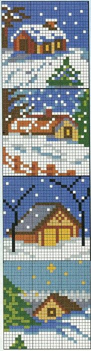 bucolic winter cross stitch scenes: