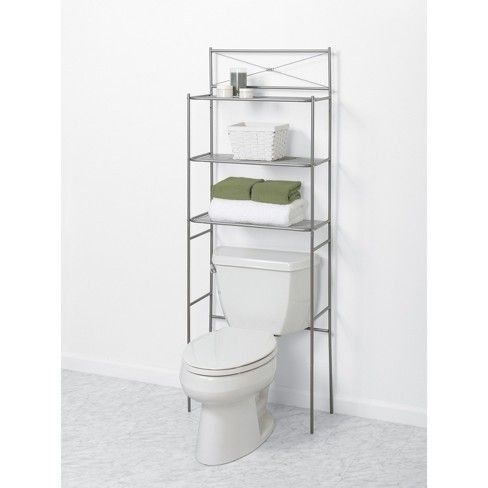 Spacesaver Over The Toilet Etagere Brushed Nickel Zenna Home Storage Bathroom Space Saver