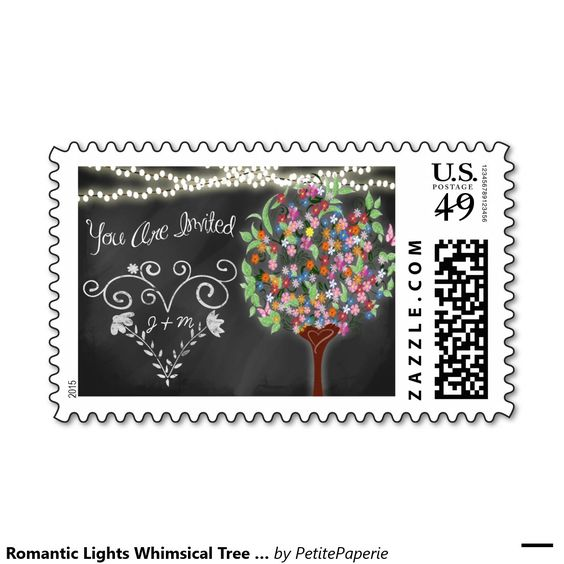 Romantic Lights Whimsical Tree Wedding Postage