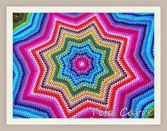 Tita Carré  Agulha e Tricot : Colcha Estrela Colorida em Crochet (Blanket Croche...