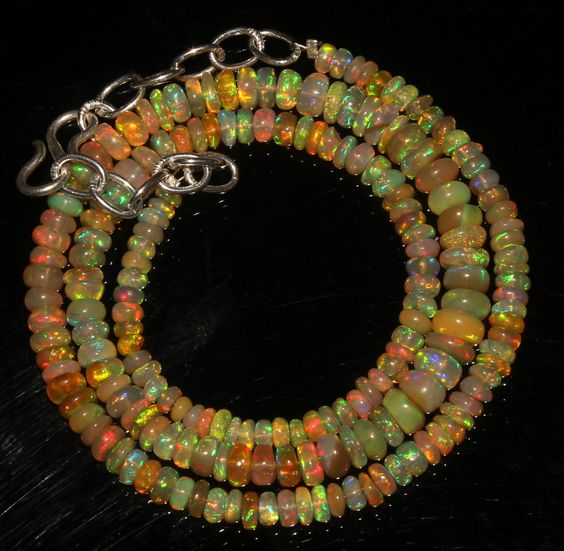 "45 TCW 1 Necklace 3 to 5.5 mm 15"" Beads Genuine Ethiopian Welo Fire Opal 9148 #opalinmind"