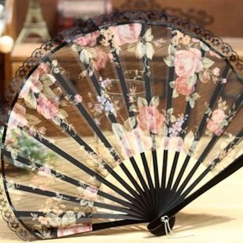 Pink Rosette Black Silk Bamboo Japanese Wedding Bridal Hand Fan Fans SKU-11213042