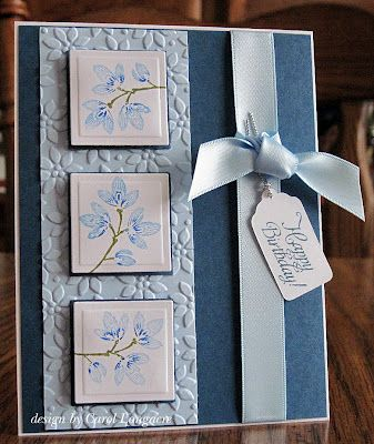 """SU Carte Postale, Petals A Plenty E F,  Nestabilities squares for the images, and just added 1/8"""" to the size and hand-cut the mats. The tag was done with a Cricut, layout"""