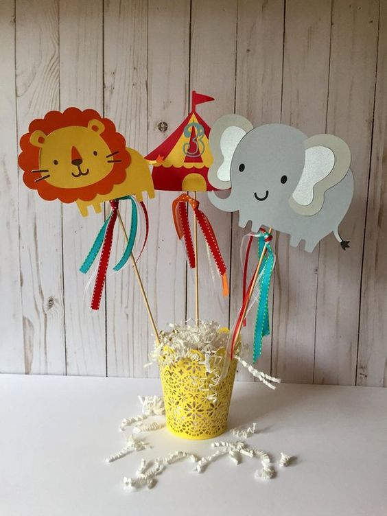 This centerpiece set will make a great addition to any birthday party/baby shower or even a wedding! Looking for different colors?? Please send me a message with your preferences. Each centerpiece stick measures 5 inches wide by 4 inches tall. (Not including the stick) everything its