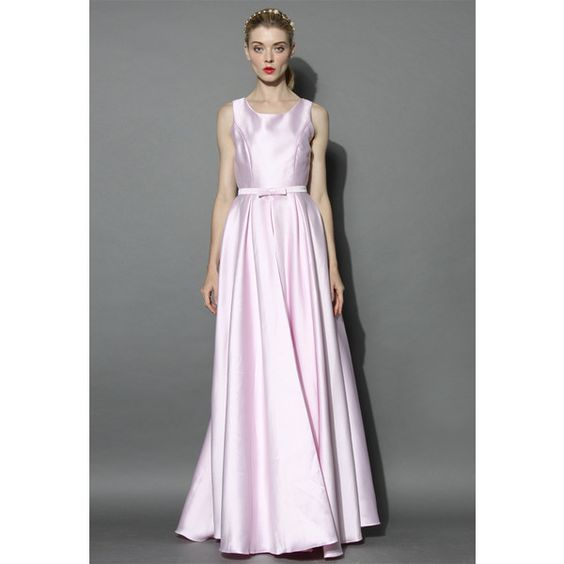 Chicwish Glamorous Backless Maxi Prom Dress in Pink ($63) ❤ liked on Polyvore featuring dresses, gowns, pink maxi dress, pink evening dress, pink gown, prom dresses and pink prom gowns