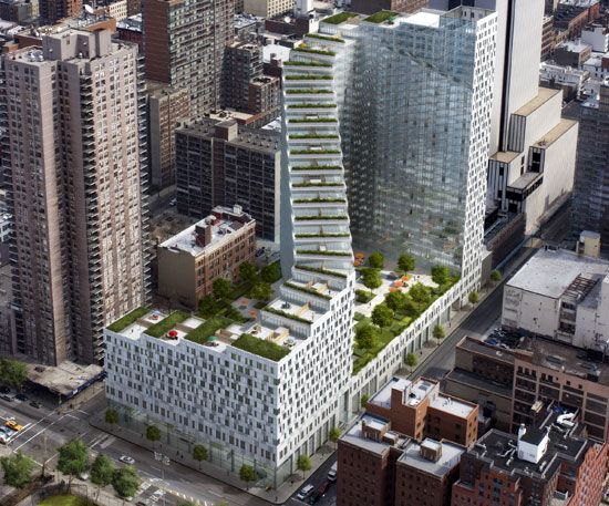 located at the western edge of midtown manhattan, is the clinton park mixed-use   development designed by ten arquitectos.