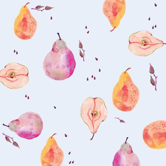 Estampa frutas em aquarela
