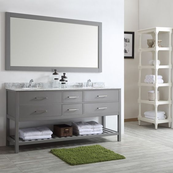 Vinnova Foligno with Carrara White Marble Top 72-inch Double Vanity with Mirror
