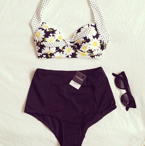 Cute vintage inspired swimsuit #summer #highwaist #vintage