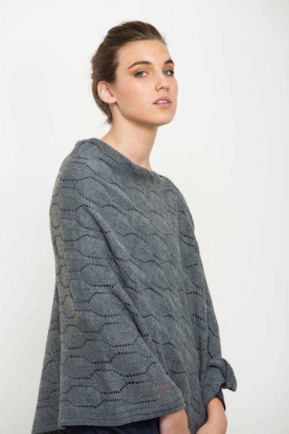 Buy 2 get 1 free sale Gray poncho, women knitted jacket, grey cardigan Feminine Shawl on Etsy, 339.29₪