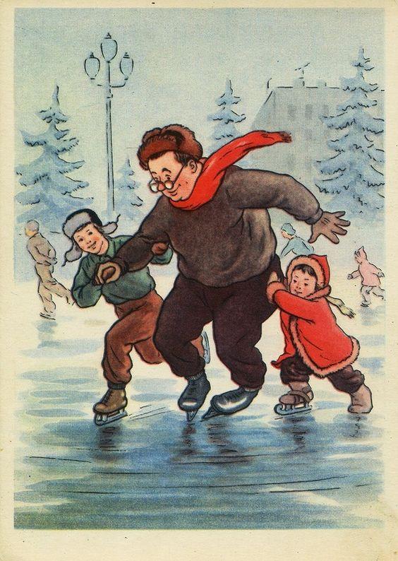 """ОТКРЫТКИ. """"С Новым годом!"""" (""""Изогиз"""", 1955 год, художники И.Фридман):"""