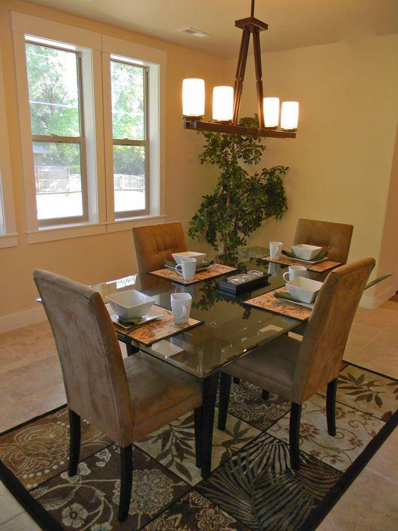 Dining room after staging. Light, lots of windows, great for entertaining.: