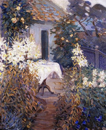 Helen Galloway McNicoll - Tea Time this artist was deaf and died in her thirties.  She studied with some of the best artists and teachers of her day in Canada and France.  She traveled with a woman companion and was greatly admired in her own lifetime.  Really lovely work. JC: