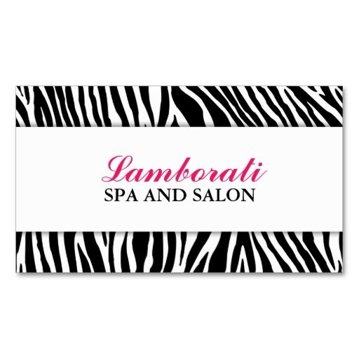 Elegant Zebra Print Fashion Hair Stylist Salon Spa Business Card. Make your own business card with this great design. All you need is to add your info to this template. Click the image to try it out!