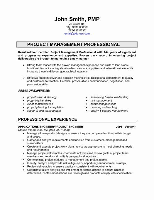 Engineering Project Manager Resume Best Of Pin By Michael Pincince On Career